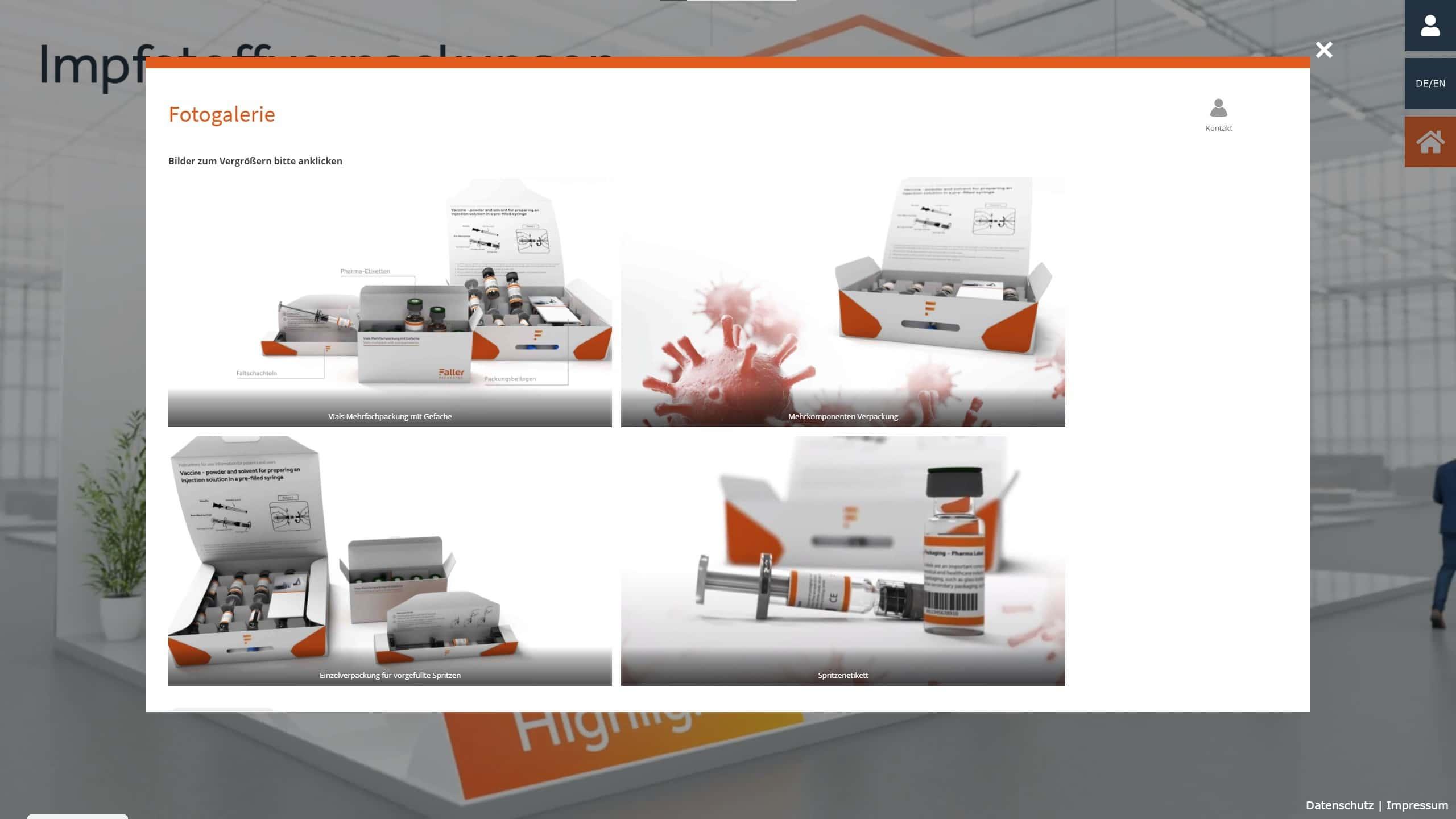 Virtueller, interaktiver Messestand von commalive für Faller Packaging.