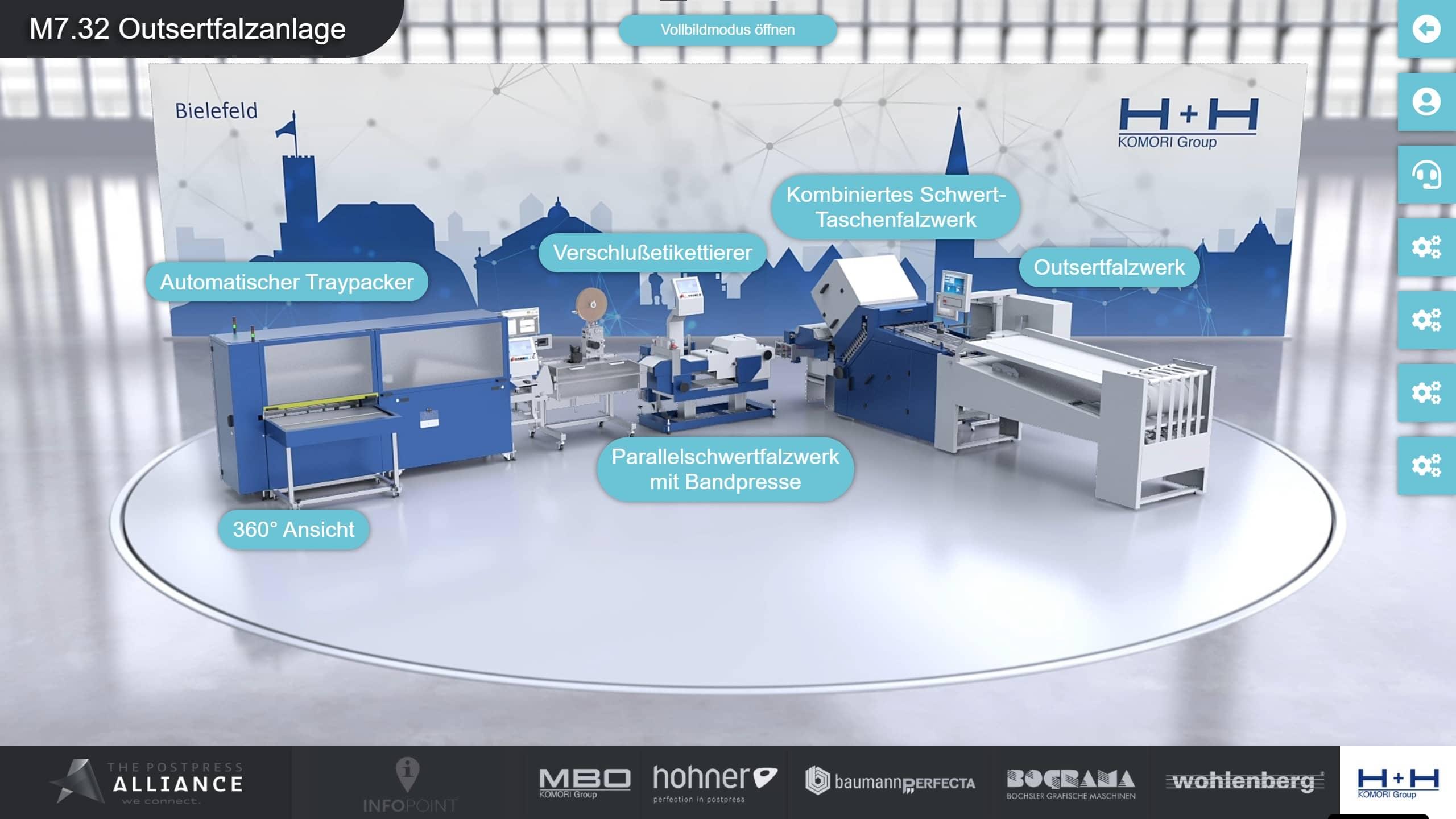 Virtueller Messestand von H+H Komori, designed by commalive.