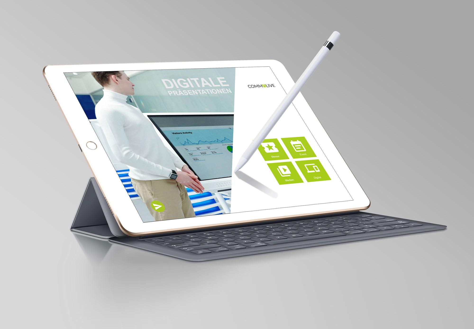 Präsentations-App von commalive, auf dem iPad und Tablet bearbeiten und präsentieren